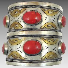 Red Jasper Cuff, Afghan Bracelet, Silver, Gold Wash, Middle Eastern, Turkomen, Vintage Bracelet