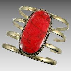 Red Jasper Bracelet, Afghan Cuff, Vintage Bracelet, Middle Eastern, Jasper Composite, Brass, Kuchi , Big Gypsy, Ethnic, Wide Statement, #1