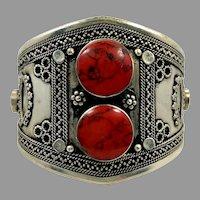 Afghan Cuff, Red Bracelet, Silver Cuff, Gypsy, Vintage Bracelet, Middle Eastern, Red Jasper