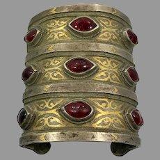 Kuchi Cuff, Afghan Bracelet, Vintage Bracelet, Red Jewels, Silver, Middle Eastern, Gold Wash, Wide, Big Statement, Turkmen