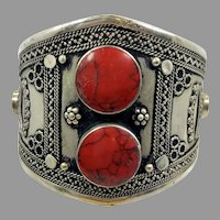 Kuchi Bracelet, Silver Cuff, Afghan, Gypsy, Vintage Bracelet, Middle Eastern, Red Jasper