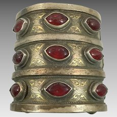 Kuchi Cuff, Afghan Bracelet, Vintage Bracelet, Red Jewels, Old Silver, Gold Wash, Wide Bracelet, Big Statement, Turkmen, Gypsy, Bohemian, #2