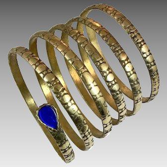 Snake Bracelet, Kuchi, Vintage Bracelet, Brass, Blue Glass Jewels,, Big Long, Middle Eastern, Afghan