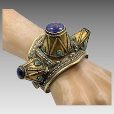 Lapis Bracelet, Kuchi Jewelry, Vintage Cuff, Spiked, Afghan, Mixed Metal, Statement Bracelet, Blue Stone, Big Statement, Ethnic, Large #1