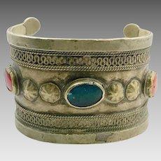 Boho Bracelet, Vintage Bracelet, Cuff Bracelet, Middle Eastern, Afghan, Turkomen, Tribal, Jeweled, Wide, Old Ethnic, Kuchi, Statement, Nomad