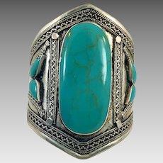 Kuchi Bracelet, Afghan, Vintage Bracelet, Silver Cuff, Composite Turquoise, Middle Eastern, Big, Wide, Ethnic, Tribal, Large, #2