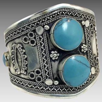 Boho Bracelet, Kuchi Cuff, Afghan Jewelry, Composite Turquoise, Vintage Turkmen, Silver Cuff, Silver, Wide