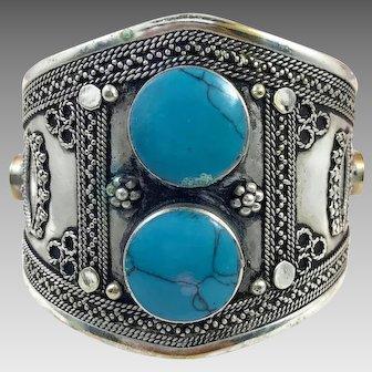 Kuchi Bracelet, Silver Wide Cuff, Vintage Bracelet, Stone, Composite Turquoise, Afghan Jewelry
