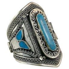 Afghan Bracelet, Kuchi, Vintage Bracelet, Silver Cuff, Turquoise Stone, Middle Eastern, Big, Wide, Ethnic, Tribal, Large, #1