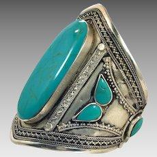 Kuchi Bracelet, Afghan, Vintage Bracelet, Composite Turquoise, Silver Cuff, Middle Eastern, Big, Wide, Ethnic, Tribal, Large, #1