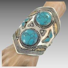 Afghan Bracelet, Silver Wide Cuff, Vintage Bracelet, Stone, Composite Turquoise, Unisex, Mens, Massive, Kuchi Jewelry, Big Statement, Large