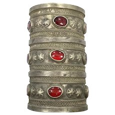 Kuchi Cuff Bracelet, Huge Large Big, Vintage Silver Boho, Red Jewels, Wide, Patina, Statement, Turkmen, Gypsy Ethnic, Afghan, Bohemian, #2