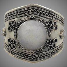 Quartz Bracelet, Kuchi Jewelry, Silver Cuff, Vintage Turkmen, White Stone, Silver Metal, Big Statement, Brass, Afghan, Ethnic, Large, #1