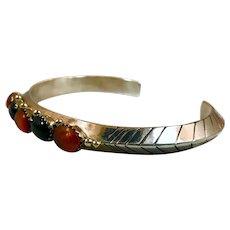 Amber Bracelet, Black Onyx, Sterling Silver Cuff, Vintage Bracelet, Native American, Carinated, Heavy Silver