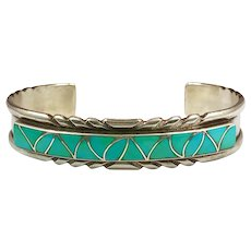 Turquoise Cuff, Sterling Silver, Zuni, Vintage Bracelet, Native American, Inlay, Inlaid