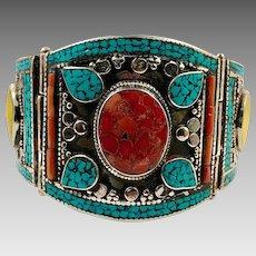 Turquoise Bracelet, Blue Lapis, Tibet, Vintage Bracelet, Coral Inlay, Nepal Jewelry, Hinged Cuff, Amber Resin, Big, Tibetan Silver, Large