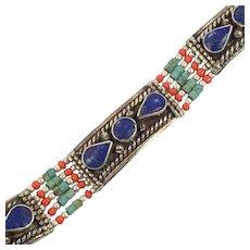 Lapis Bracelet, Turquoise, Tibetan Silver, Coral, Nepal Jewelry, Vintage Bracelet, Boho Bohemian, Tribal Ethnic, Gypsy Hippie, Tibet Nepal