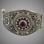 Old Silver Bracelet, Vintage Bracelet, Afghan Bracelet, Pakistan, Small Wrist, Hinged Bangle Cuff, Nomadic, Gypsy, Ornate, Balochi Tribe, #1