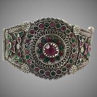 Old Silver Bracelet, Vintage Bracelet, Afghan Bracelet, Pakistan, Balochi Tribe, Small Wrist, Hinged Bangle Cuff, Nomadic, Gypsy, Ornate