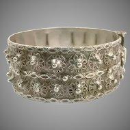 Old Silver Bracelet, Vintage Bracelet, Hinged Bangle Cuff, Afghan Bracelet, Middle Eastern, Pakistan, Balochi, Nomadic, Detailed Ornate, #1