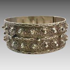 Old Silver Bracelet, Vintage Bracelet, Hinged Bangle Cuff, Afghan Bracelet, Middle Eastern, Pakistan, Balochi, Nomadic, Detailed Ornate, #2