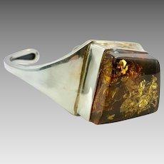 Amber Cuff, Sterling Silver, Cuff Bracelet, Vintage Bracelet, Honey Amber, Amber Bracelet, Contemporary, Modern Design, Big Stone