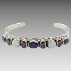 Amethyst Bracelet, Opal Bracelet, Sterling Silver, Vintage Bracelet, Amethyst Cuff, Stacking Bracelet, Vintage Cuff, Multiple Stones
