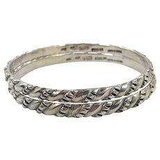 Sterling Silver Bangle, Two, Pair, Taxco, Hencho En Mexico, Vintage Bracelet, Heavy, Set, Sterling Bracelet, Stacking, Layer, Silver Bangles