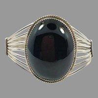 Black Obsidian Bracelet, Obsidian Cuff, Sterling Silver, Black Stone, Navajo, Vintage Bracelet, Native American, Signed, Wide, Large