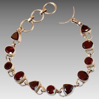 Red Garnet Bracelet,Gemstone Bracelet, Sterling Silver, Vintage Bracelet, January Birthstone, Faceted Stones, Links Linked, Tennis Bracelet