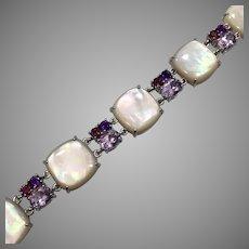 Shell MOP Bracelet, Pink Tourmaline, Purple Amethyst, Vintage Bracelet, Mother of Pearl, Gemstones, Sterling Silver, Link Linked, Large