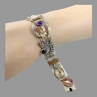 Modern Bracelet, Amethyst, Lapis, Onyx, Sterling Silver, Abstract, Contemporary, Artisan, Small Wrist, Mixed Metal, Handcrafted, Unique