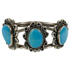 Turquoise Bracelet, Sterling Silver, Cuff Bracelet, Vintage Bracelet, 1970s, Native American, Navajo
