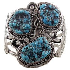 Turquoise Cuff, Sterling Silver, Vintage Bracelet, Heavy Huge, Large Wrist, Native American, Feathers, Black Matrix, Unisex Mens Mans, Big