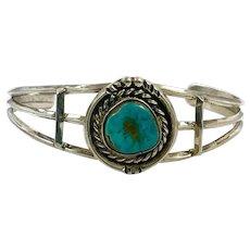Turquoise Cuff, Sterling Silver, Vintage Bracelet, Small Wrist, Native American, Navajo, 1970s, 70s, Chiseled, Boho, Blue Aqua, Stacking