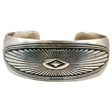 Silver Cuff, Sterling Silver, Vintage Bracelet, Native American, Etched, 925, Sterling Cuff