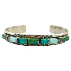Turquoise Cuff, Sterling Silver, Vintage Bracelet, Opal, Coral, Black Onyx, Signed, Zuni, Native American, Multi-Stone, Sterling Cuff