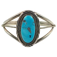 Turquoise Cuff, Sterling Silver, Cuff Bracelet, Vintage Bracelet, Native American, Signed, JJ, Large Stone, Small Wrist, Chiseled Trim