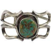 Turquoise Cuff, Sandcast, Sterling Silver, Navajo, Native American, Vintage Bracelet, Small Wrist, Matrix, Heavy Silver Cuff Bracelet