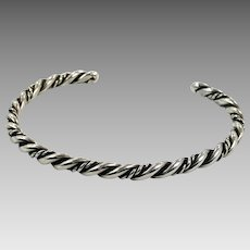 Sterling Silver Cuff, Vintage Bracelet, Navajo, Native American, Twisted Pattern, Small Wrist