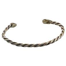 Sterling Silver, Cuff Bracelet, Vintage Bracelet, Navajo, Heavy, Native American, Twisted Pattern, Boho Jewelry, Stacking
