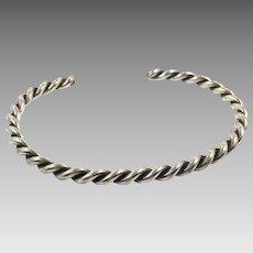 Sterling Silver, Cuff Bracelet, Vintage Bracelet, Navajo, Native American, Twisted Pattern, Stacking, Layer, Boho Jewelry, Bohemian