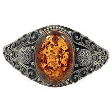 Amber Bracelet, Sterling Silver, Vintage Cuff, Suarti, Designer, Bali BA, Indonesia, Larger Wrist