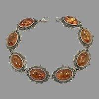Amber Bracelet, Sterling Silver, Vintage Bracelet, Honey Amber, Ornate Links, Linked, Vintage Jewelry