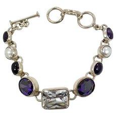 Amethyst Bracelet, Sterling Silver, Vintage Bracelet, Pearl, CZs, Linked Bracelet