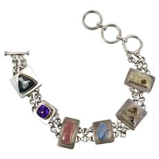 Multi Stone Bracelet, Opal, Amethyst, Sterling Silver, Vintage Bracelet, Agate, Jasper, Artisan, Unique, OOAK, Links Linked, Unusual