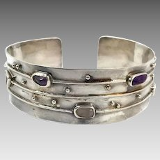 Modern Bracelet, Gemstone, Vintage Bracelet, Sterling Silver, Citrine, Amethyst, Rose Quartz, Bangle Cuff, Artisan, Unique, Unusual