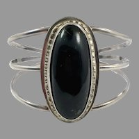 Black Onyx Cuff, Sterling Silver, Vintage Bracelet, Large, Wide, Boho Statement, 925, Black Stone, Southwestern, Big, Ethnic, Oval Stone