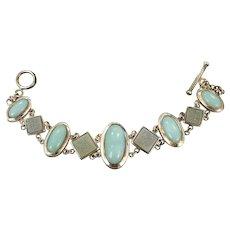 Calcedony Bracelet, Druzy Stone, Sterling Silver, Vintage Bracelet, Aqua Blue, Links Linked, Pastel Bracelet, Toggle, Quality, Grey Stone