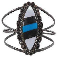 Turquoise Bracelet, Black Onyx, Mother-of-Pearl Cuff, Vintage Bracelet, Sterling Silver, Native American, Boho Cuff, Big Statement, Signed